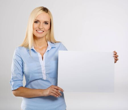 woman portrait with blank white signboard