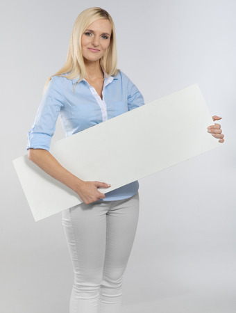 business contact: woman portrait with blank white board Stock Photo