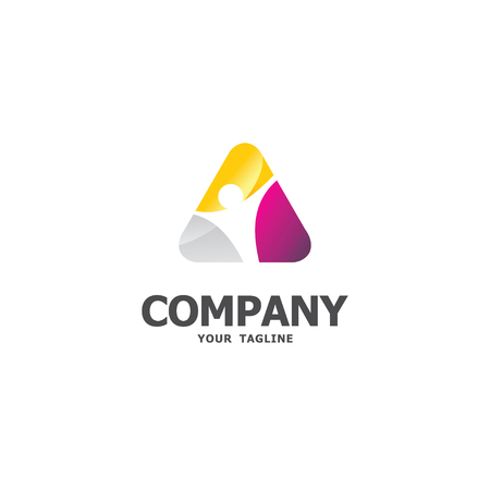 Colorful triangle template Иллюстрация