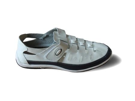 shoes closeup white Shoe isolation on white background Stock Photo