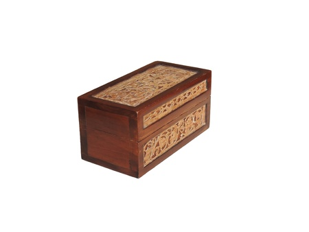 Carved wooden box with tabs from birch bark