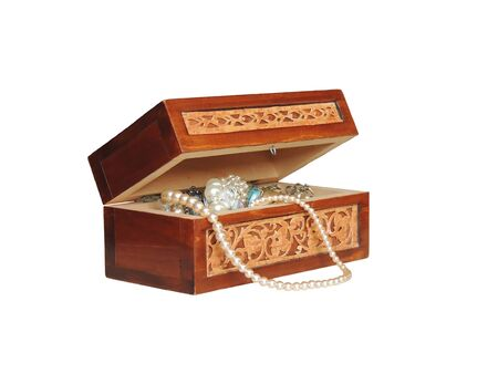 Painted box of jewelry on a white background