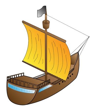 ship sailing on a white background illustration  Çizim