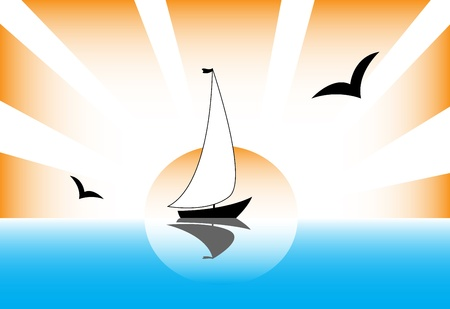 sailboat rays of the sun gulls sea landscape Vector