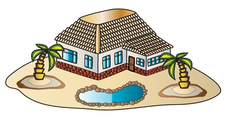 illustration of a house made in different colors Illustration