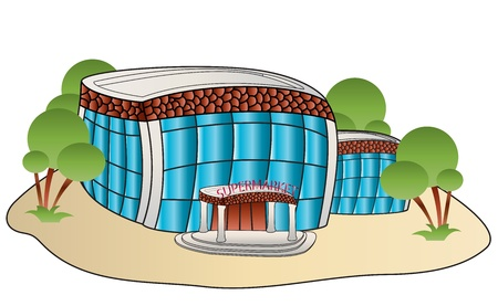 depicted: building of shop supermarket depicted in the cartoon style