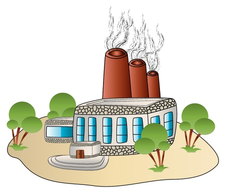factory building plant in a cartoon style