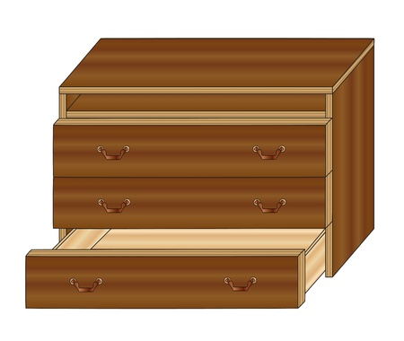highboy: furniture brown chest of drawers with one open drawer Illustration