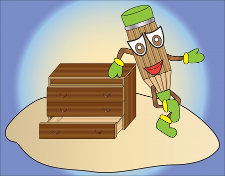 cartoon pencil standing next to a chest of drawers Stock Vector - 21724814