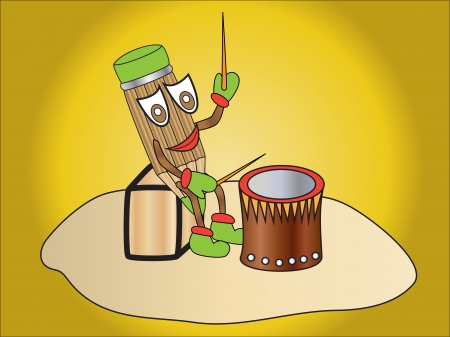 cartoon character who plays the drum pencil Vector