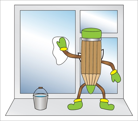 cartoon pencil standing back cleans the window Vector
