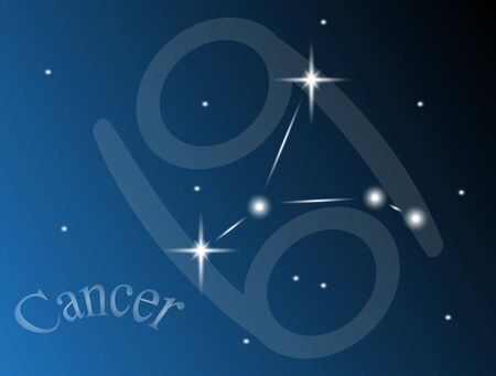 constellation cancer against the sky Vector