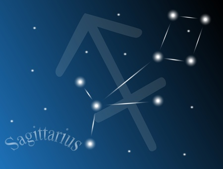 zodiac background: constellation Sagittarius against the sky