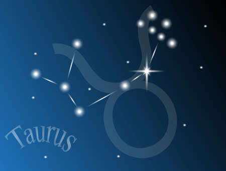 constellation Taurus against the sky Vector