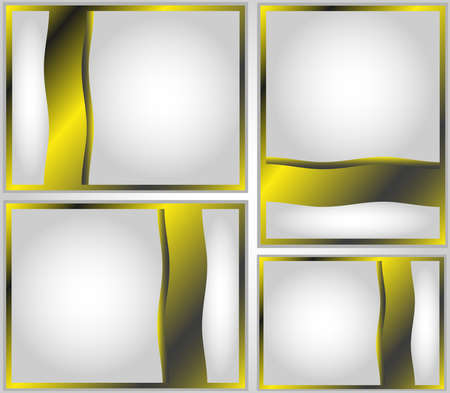four frames in grey black and yellow tones Illustration