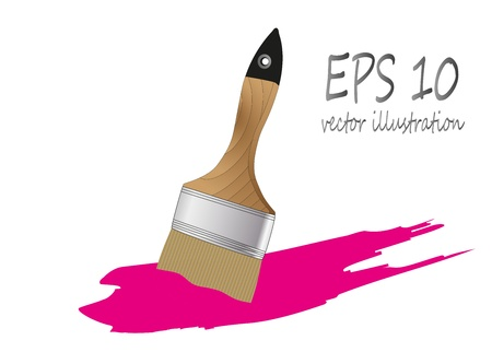 brush paint with wooden handle Stock Vector - 21943759