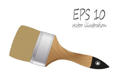 brush paint with wooden handle Vector