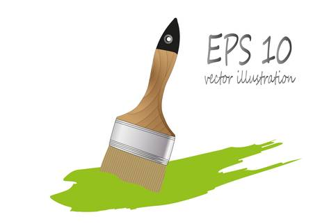 brush paint with wooden handle Stock Vector - 21943772