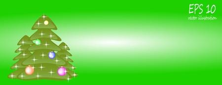 card Christmas tree with balls Vector