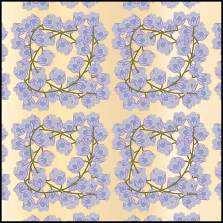 seamless texture flowers on a sprig Vector