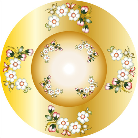 round ornament Golden plate with a painting Vector