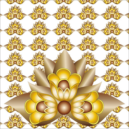 the texture of Golden flowers on a white background Vector