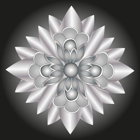 silver flower isolated on black background element of decor Vector