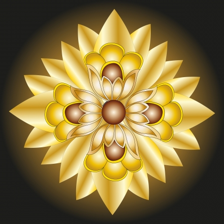 Golden flower isolated on black background element of decor Vector