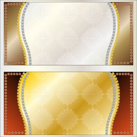 illustration frame background in gold and silver Vector