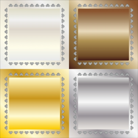 metal squares with ornament platinum gold silver bronze Stock Vector - 22370795