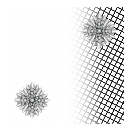 black mesh and flowers abstract background Vector