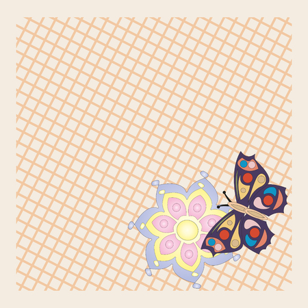 a little colored butterfly and flower on the pastel background Stock Vector - 22371586