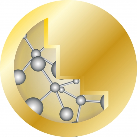 gold medals with a pattern of molecules Illustration