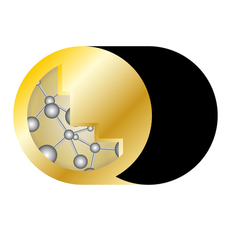 laboratory label: the emblem of the gold medal with a picture in the form of molecules
