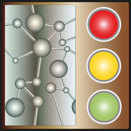 caution chemistry: abstract background with a pattern of molecules and the buttons at the traffic light colour Illustration