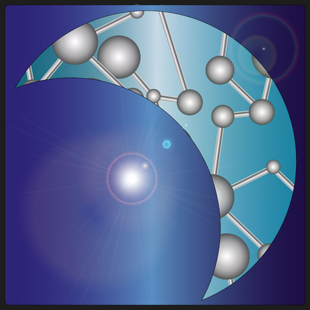 von card with the moon filled a pattern in the form of molecules with metallic colors Vector
