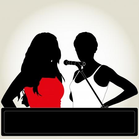 Silhouetten von zwei Sänger mit Mikrofon Standard-Bild - 22690864