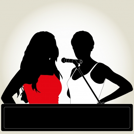 silhouettes of two singers with microphone