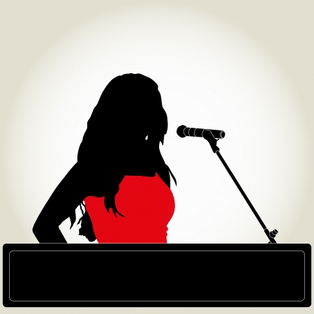 the silhouette of the singer with microphone Vector