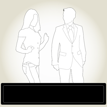 siluettes: silhouettes man in a business suit and a modern girl Illustration
