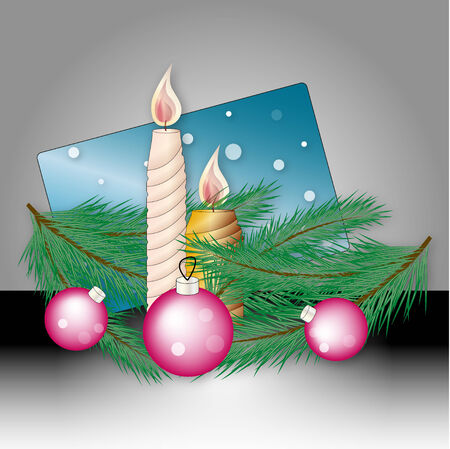 Christmas illustration with Christmas tree balls and candles Vector