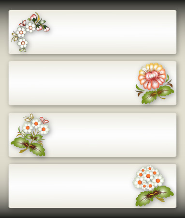 antiquities: Set of four banners with flowers in the style of Russian antiquities