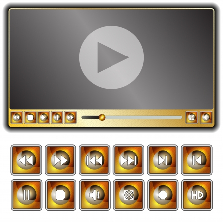the media player and set of a few buttons to him Vector