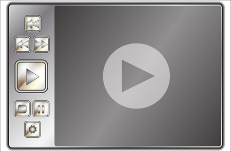 web player control buttons and screen Vector