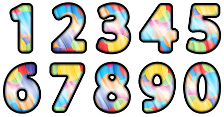 a set of colored colorful digits from 0 to 9 Vector
