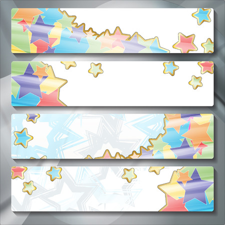 a set of several colored banners Vettoriali