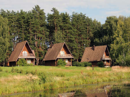 Wooden houses on the lake shore