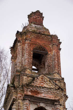 Abandoned bell tower 18th century, Church of the Holy Trinity in Troitsa-Zazharye, Belfry, Russia, Kostroma region Stock Photo