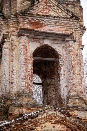 Abandoned bell tower 18th century, Church of the Holy Trinity in Troitsa-Zazharye, Belfry, Russia, Kostroma region