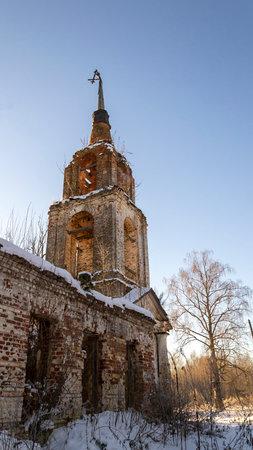 destroyed rural bell tower, afanasovo village, Kostroma region, Russia